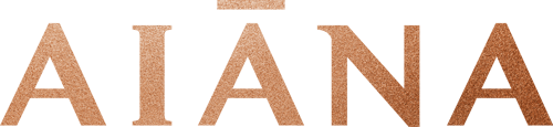 The Aiana logo written in a classy font, fading from a pale gold to a rich bronze.