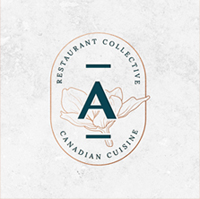 The Aiana letter 'A' within a bronze oval, with the text 'restaurant collective' above it and 'canadian cuisine' below it.